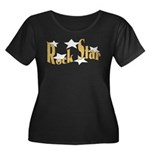 Rock Star Women's Plus Size Scoop Neck Dark T-Shir