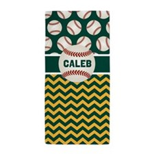 Green Yellow Baseball Chevron Personalized Beach Towel