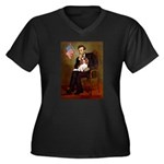 Lincoln's Cavalier Women's Plus Size V-Neck Dark T