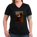 Lincoln's Cavalier Women's V-Neck Dark T-Shirt