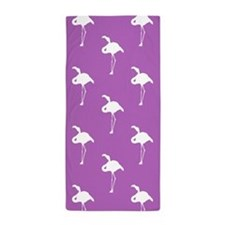 White Flamingo on Lavender Purple Beach Towel
