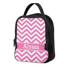 Pink Chevron Personalized Neoprene Lunch Bag