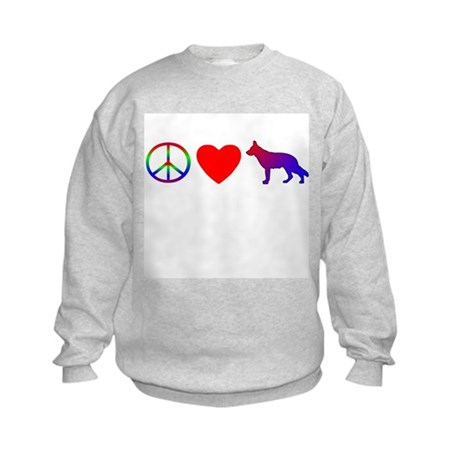 Peace Love German Shepherd Kids Sweatshirt