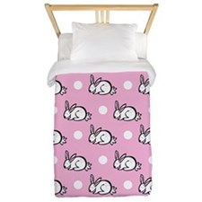Cute Bunny Rabbit; Pink White Polka Dots Twin Duve