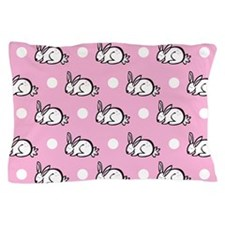 Cute Bunny Rabbit; Pink White Polka Dots Pillow Ca