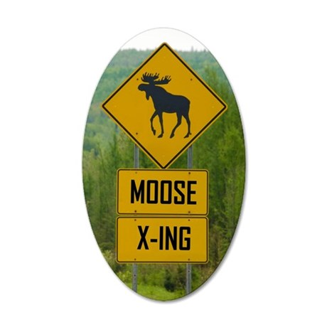 MOOSE CROSSING 35x21 Oval Wall Decal