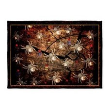 White Spiders In Tree Stump 5'x7'Area Rug