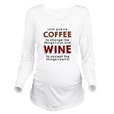 Coffee and Wine Long Sleeve Maternity T-Shirt