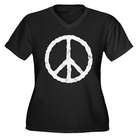 'Vintage' Peace Symbol Women's Plus Size V-Neck Da