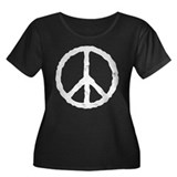 'Vintage' Peace Symbol Women's Plus Size Scoop Nec