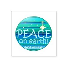 "Funny Christmas peace Square Sticker 3"" x 3"""