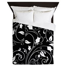 Elegant Black and White Floral Swirls; Flowers Que