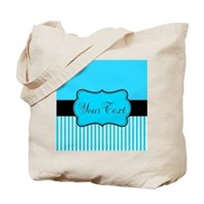 Personalizable Teal White Black Tote Bag