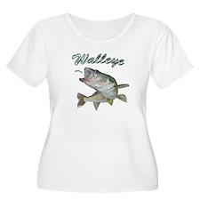 Walleye Turning up Plus Size T-Shirt