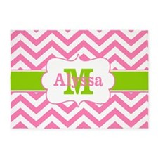 Pink Green Chevron Personalized 5'x7'Area Rug