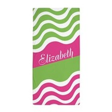 Personalized Wiggly PINK Green Beach Towel