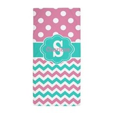Pink Teal Dots Chevron Personalized Beach Towel