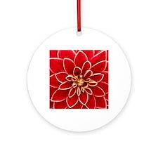 Red Dahlia Closeup Round Ornament