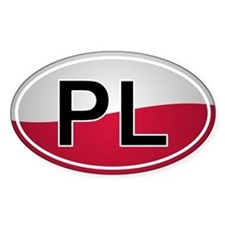 Polish Oval Car Sticker - Flag Design