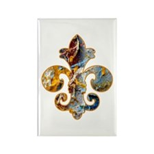 Fleur de lis Faux Paint 5 Rectangle Magnet (100 pa