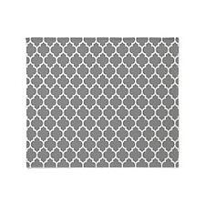 Gray And White Quatrefoil Geometric Pattern Throw