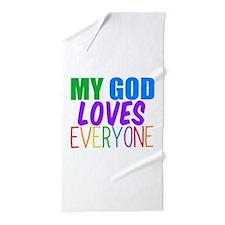My God Loves Beach Towel