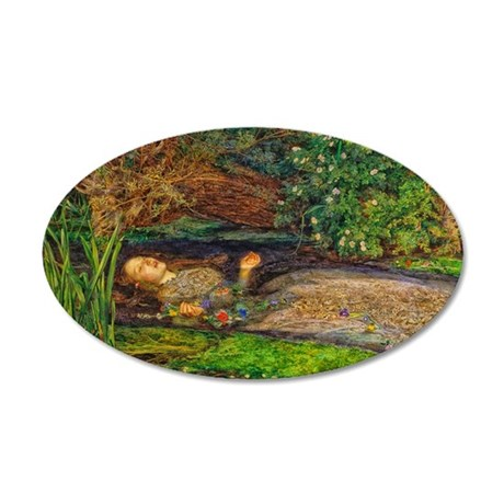 Millais: Drowning Ophelia 20x12 Oval Wall Decal