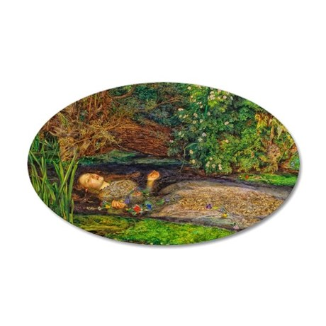 Millais: Drowning Ophelia 35x21 Oval Wall Decal