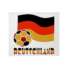 German Soccer Ball Flag Deutschland Throw Blanket