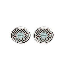 Blue Chevron Dots Personalized Oval Cufflinks