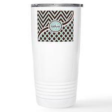 Blue Chevron Dots Perso Travel Coffee Mug