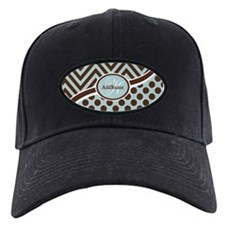 Blue Chevron Dots Personalized Baseball Hat