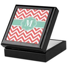 Coral Mint Chevron Monogram Keepsake Box
