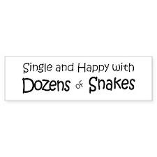 Single & Happy With Snakes Bumper Bumper Sticker
