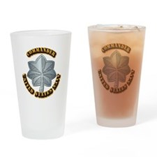 Navy - Commander - O-5 - w Text Drinking Glass