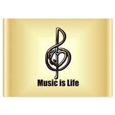 Treble Clef Music Gold Customizable 5x7 Flat Cards