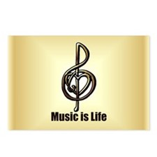 Treble Clef Music Gold Cu Postcards (Package of 8)