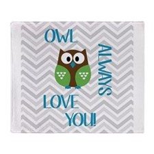 Owl Always Love You in Blue, Green a Throw Blanket