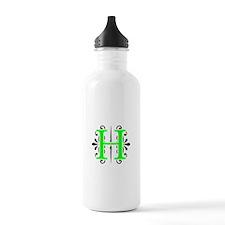 MONOGRAM, H, FLORESCENT GREEN & BLACK Water Bottle