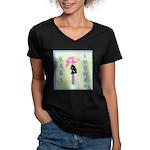 Baby Shower Blue Women's V-Neck Dark T-Shirt