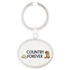 Country Forever Oval Keychain