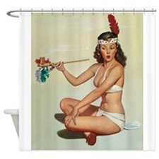 Pinup Girl Indian With Peace Pipe, Shower Curtain
