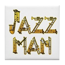 Jazz man sax saxophone Tile Coaster