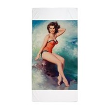 Pinup Girl and Surf, Vintage Art Beach Towel