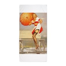 Pinup Girl and Umbrella; Vintage Art Beach Towel