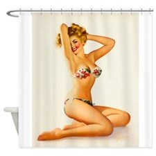 Pinup Girl, Beach, Bikini; Vintage Shower Curtain