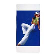 Pinup Girl Sailor; Vintage Art Beach Towel