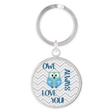 Owl Always Love You in Blue Round Keychain