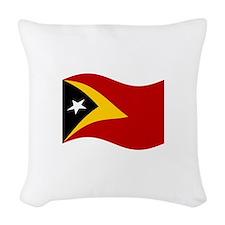 Waving Timor-Leste Flag Woven Throw Pillow