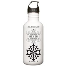 Gratitude and Love in Black Water Bottle